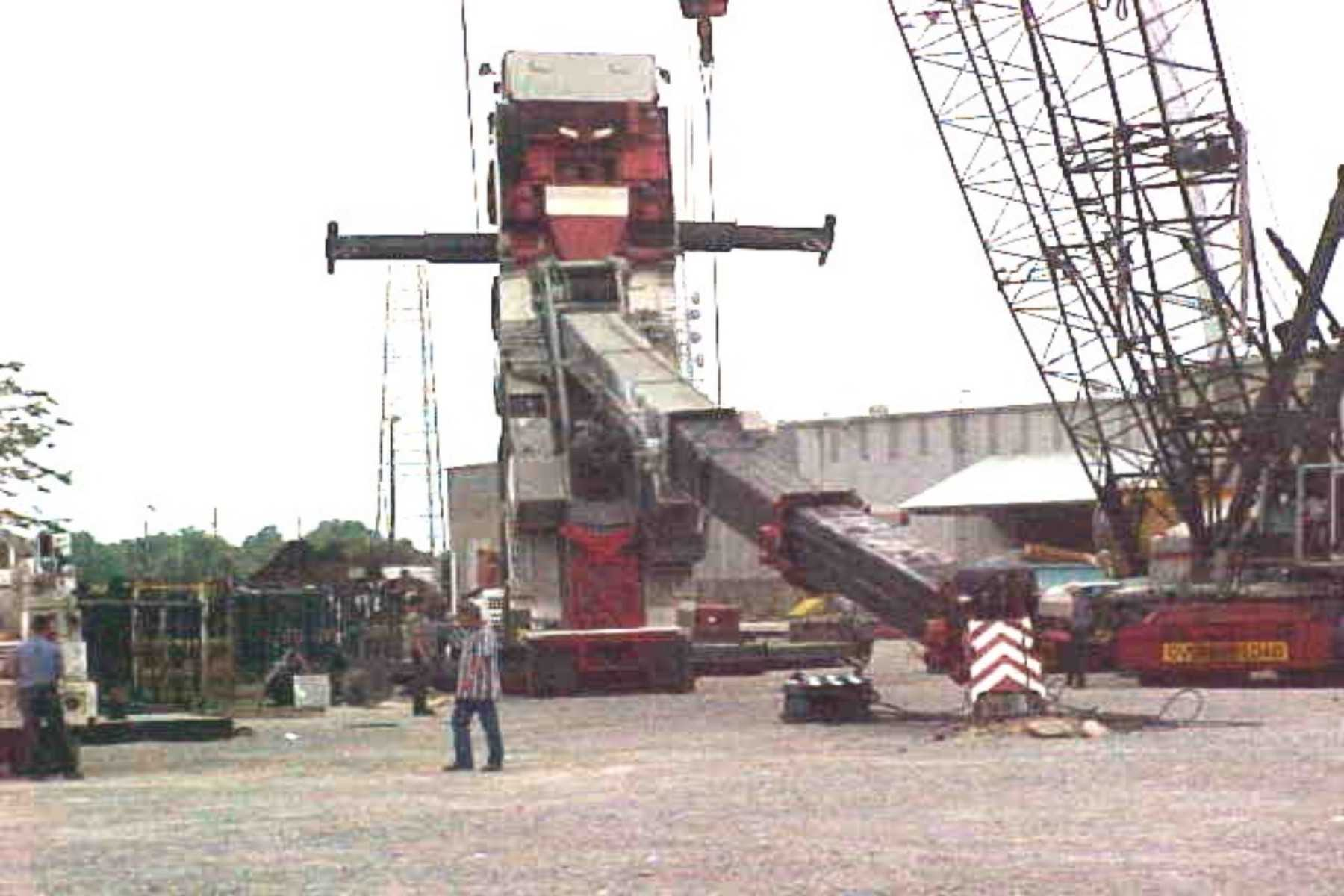 Look at the crane level on the floor in back of the crane operator. This  was installed by the crane manufacturer. The crane tipped over at night and  there ...